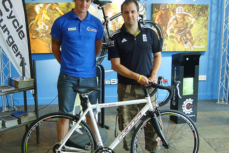 Fantasy Tour: winner Alex Long picksup his prize (pic courtesy of CyclesSurgery)