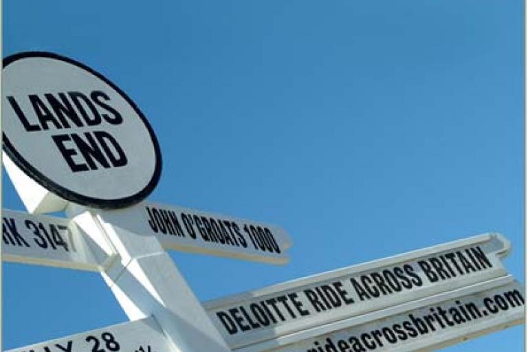 Deloitte Ride Across Britain signpost