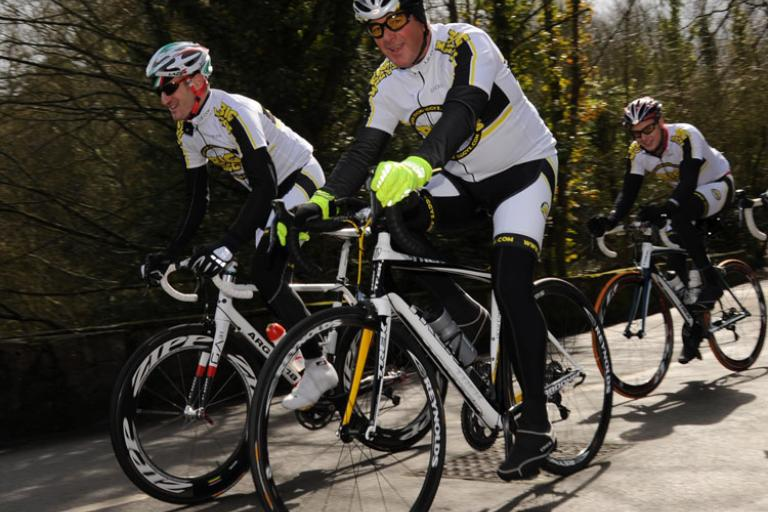 Nigel Mansell prepares for Cycle Challenge (Image courtesy of Sean Ramsel)