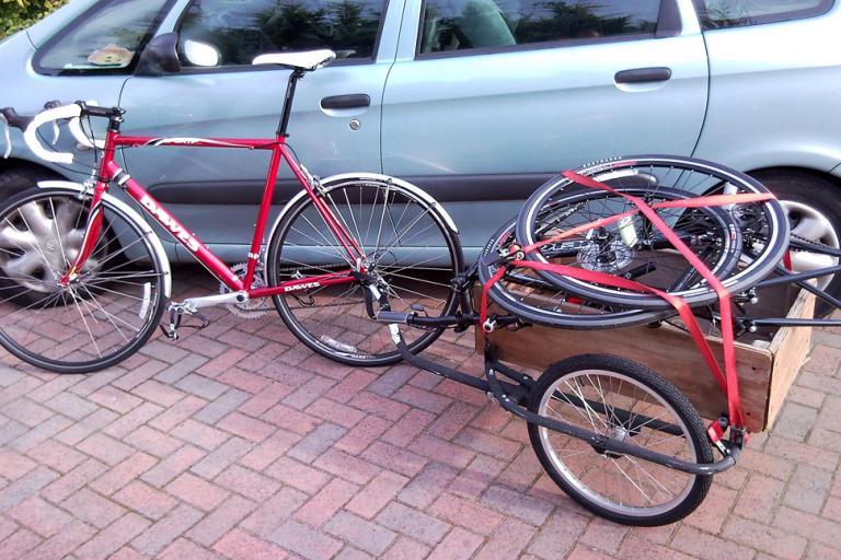 Bike trailer with bike in it