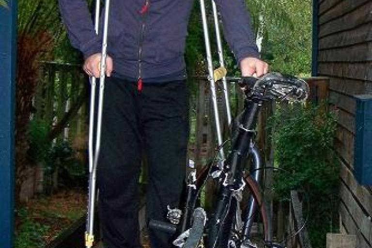Rick Robson with squashed bike