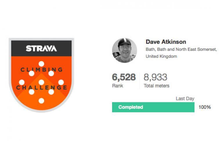 Strava Climbing Challenge Dave