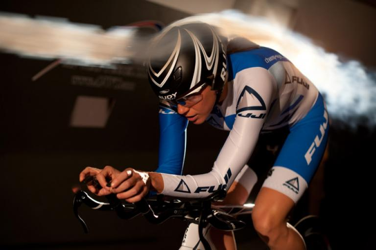 Fuji Norcom Straight time trial bike in wind tunnel
