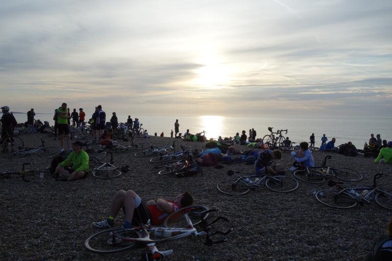 Dunwich Dynamo bikes on beach