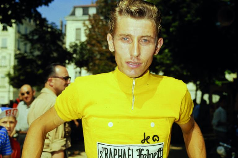 Jacques Anquetil in the yellow jersey (picture courtesy Le Coq Sportif)