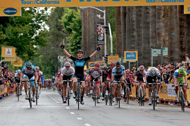 Ben Swift wins stage 2 of the Amgen Tour of California 2011 (© Photosport International)