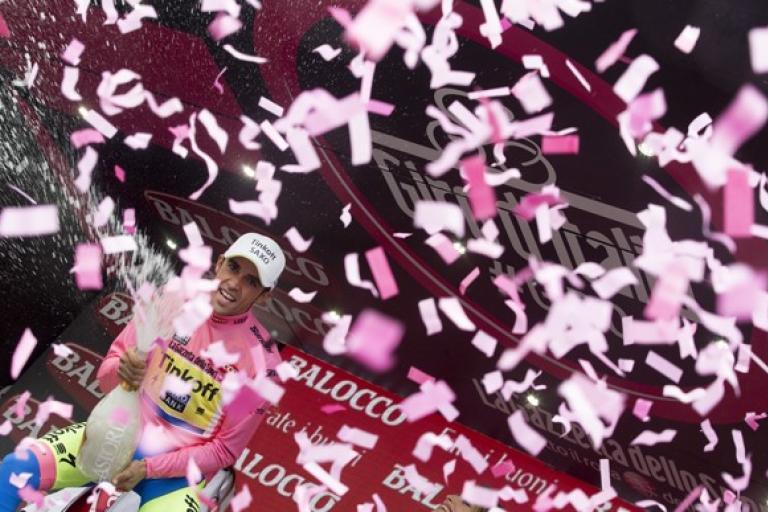 Alberto Contador after regaining 2015 Giro d'Italia lead on Stage 14 (picture ANSA, Dal Zennaro)