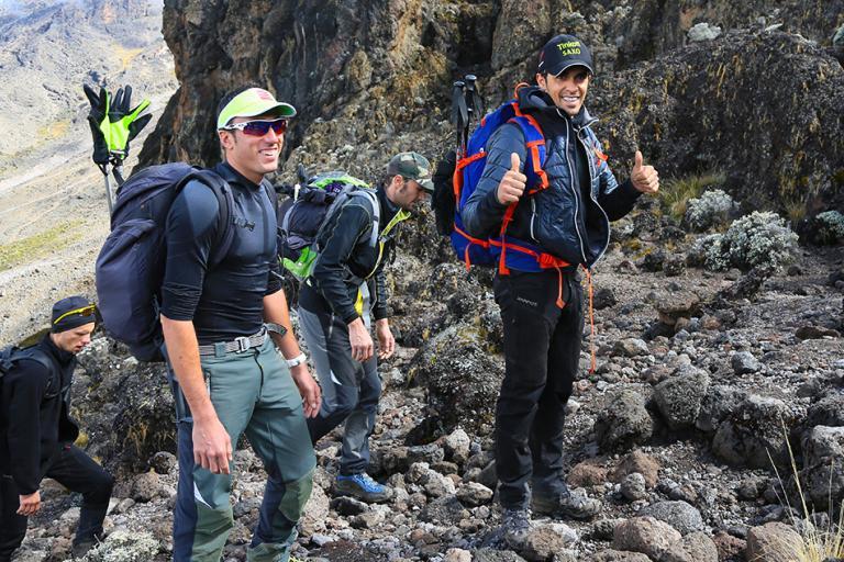 Alberto Contador on the way to the summit of Kilimanjaro (photo Team Tinkoff-Saxo)