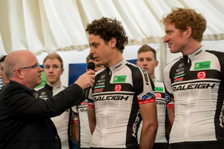 Alexandre Blain being interviewed by Anthony McCrossan (source Team Raligh-GAC on Facebook)