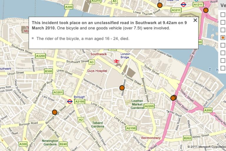 BBC road casualty map (picture source- BBC.co.uk)