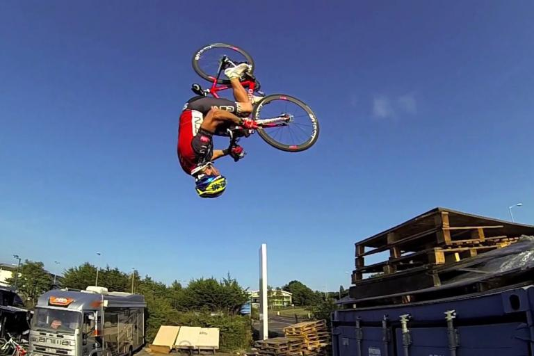 Blinking flip! A still from the Making of Road Bike Party 2