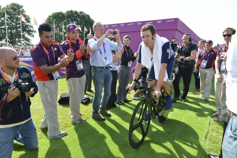 Bradley Wiggins after winning Olympic ITT gold (copyright Britishcycling.org.uk)