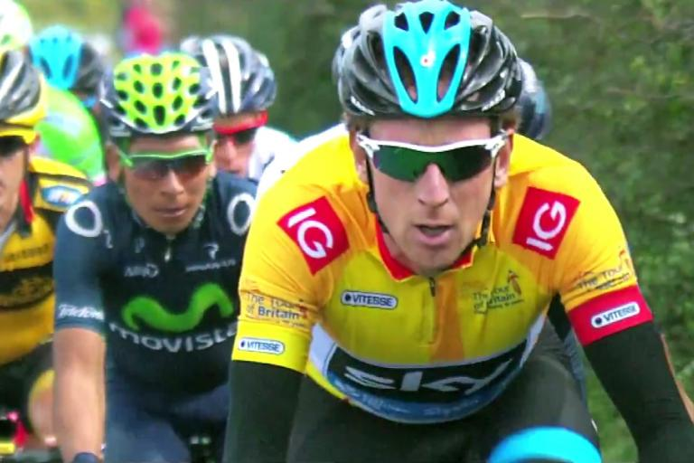 Bradley Wiggins leads the Tour of Britain in a still from the 2014 race promo video