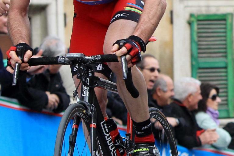 Cadel Evans in Tirreno Adriatico leader jersey Picture LaPresse RCS Sport .jpg