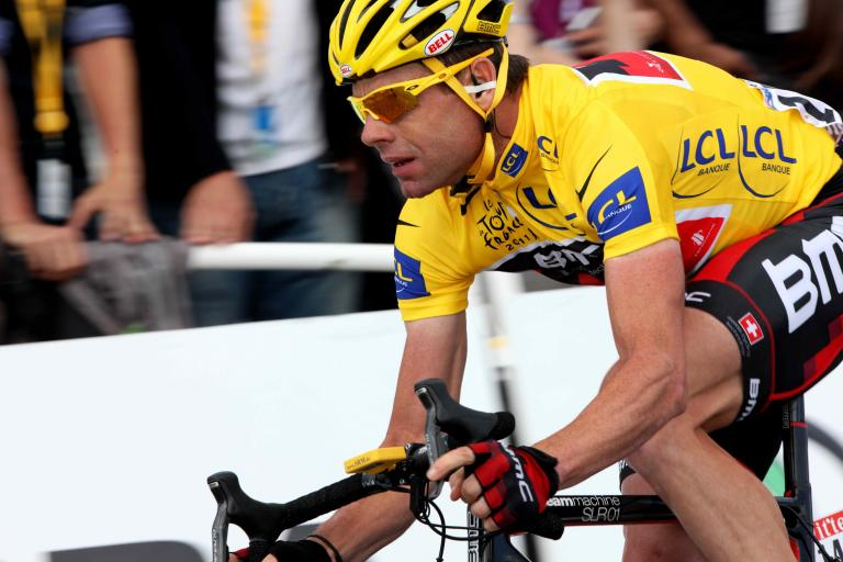 Cadel Evans on last day of 2011 Tour de France copyright PhotoSport International.jpg