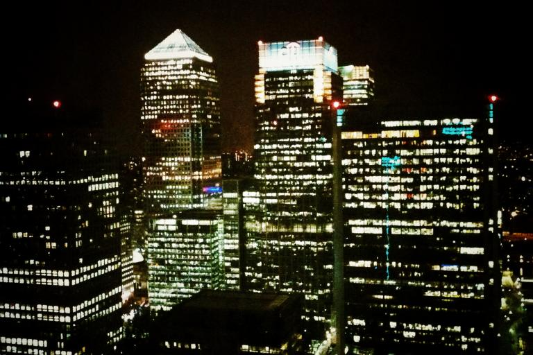 Canary Wharf at night (copyright Simon MacMichael)