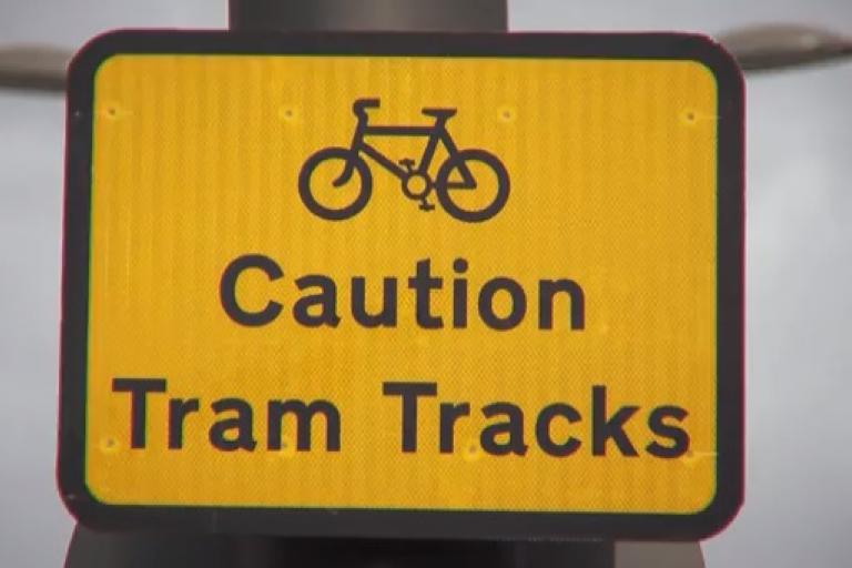 Caution Tram Tracks (source - Edinburgh Council YouTube video)