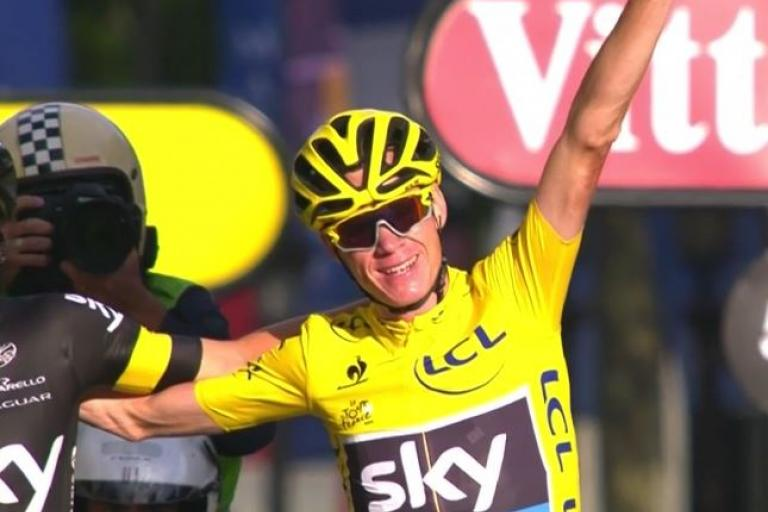 Chris Froome wins 2015 Tour de France (Eurosport TV still)