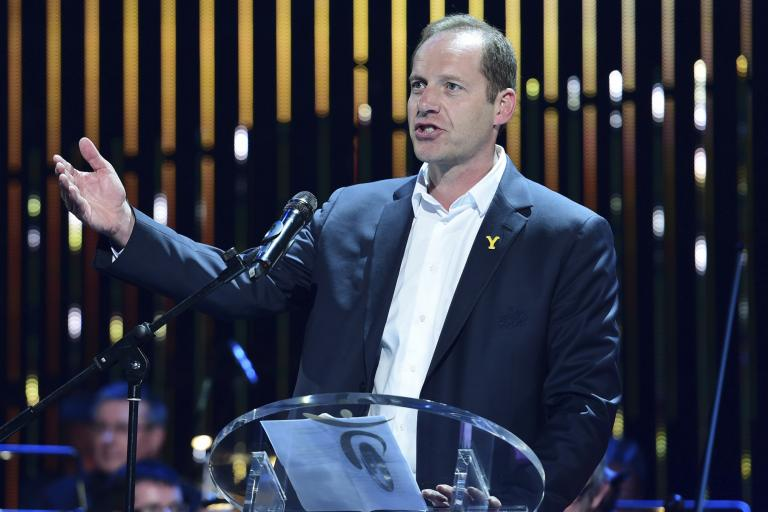 Christian Prudhomme at 2014 TdF presentation in Leeds (picture credit Welcome to Yorkshire - letouryorkshire.com)