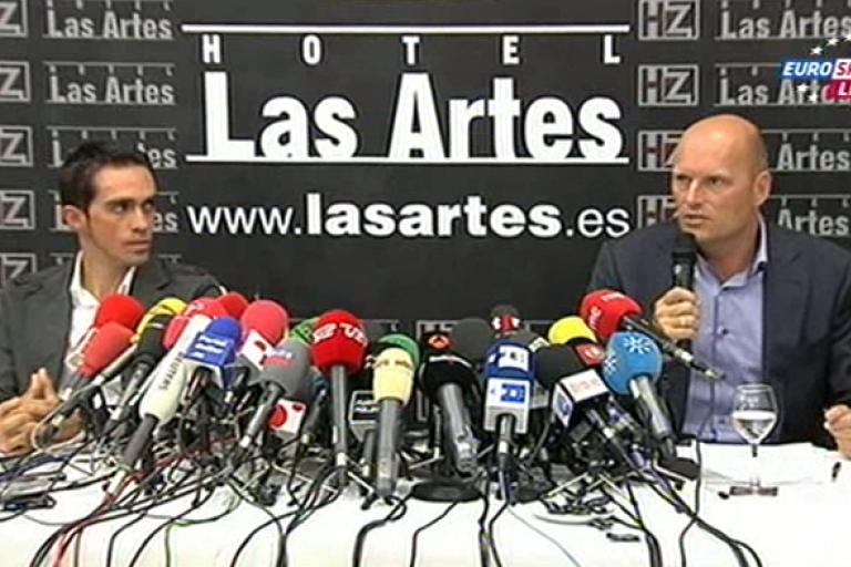 Contador and Riis press conference