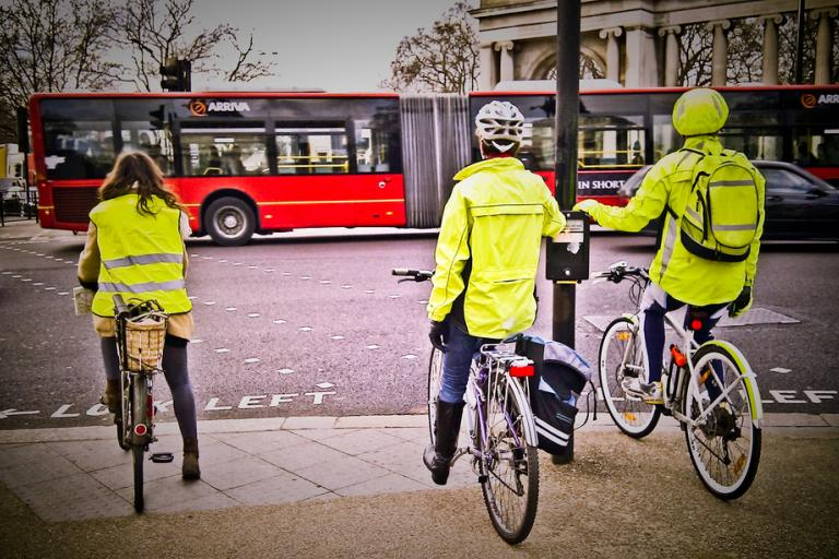 Cyclists in high-vis (CC licensed image by garryknight)