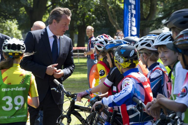 David Cameron meets young riders from British Cycling's Go-Ride programme (CC licensed by The Prime Minister's Office:Flickr)