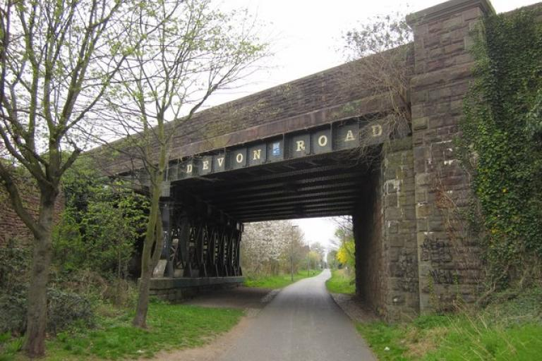 Devon Road Bridge on Bristol & Bath Railway Path (licensed under CC BY-SA 2.0 by Derek Harper)