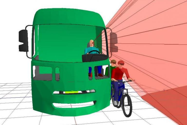 Direct vision lorry design, side view - picture credit Loughborough Design School)
