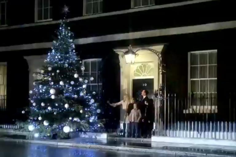 Downing Street Christmas Tree lights switch on YouTube still.png