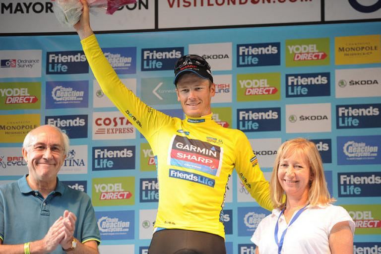 Dylan van Baarle in leader's jersey 2014 Friends Life Tour of Britain (picture credit SweetSpot)