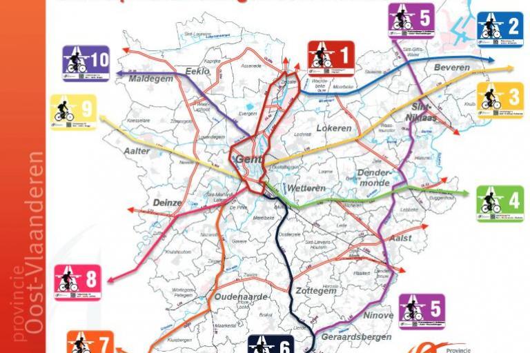 East Flanders planned Cycle Highways