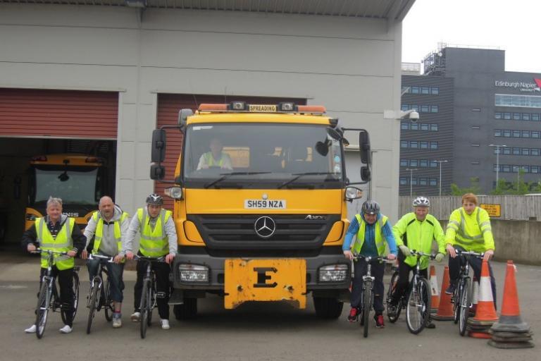 Edinburgh lorry driver cycle training (picture credit City of Edinburgh Council)