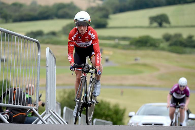 Emma Pooley wins national time trial championship 2014 (copyright Britishcycling.org.uk)