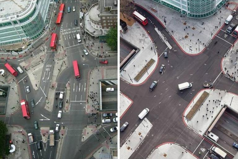 Euston Circus in 2004 (left) and 2014 (right) (picture TfL)