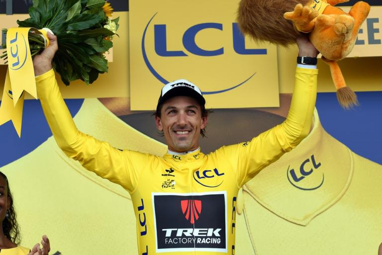 Fabian Cancellara in yellow, Tour de France 2015 Stage 2 (picture courtesy Trek Factory Racing)