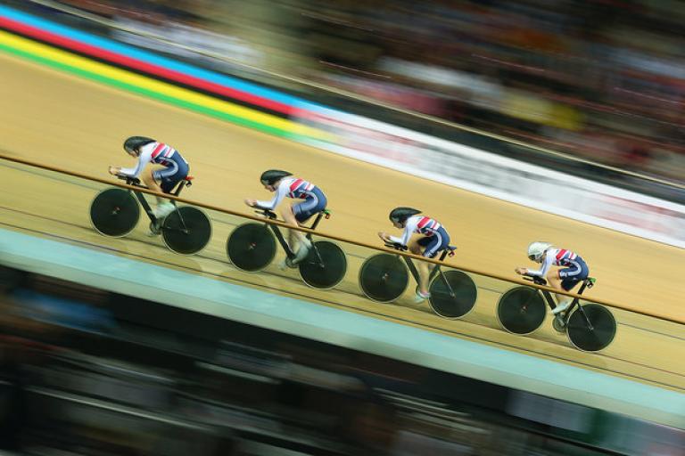 GB women's team pursuit, Track Worlds 2015 (copyright Britishcycling.org.uk)