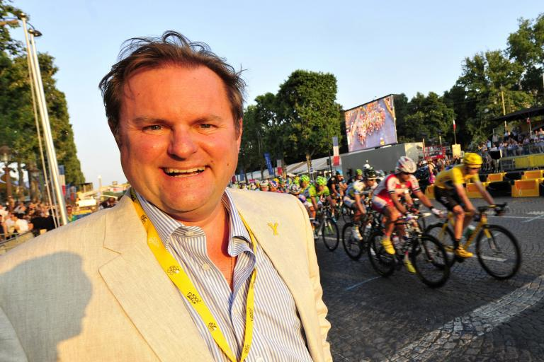 Gary Verity, chief executive of Welcome to Yorkshire, on the Champs-Elysees (copyright Simon Wilkinson:SWpix.com)