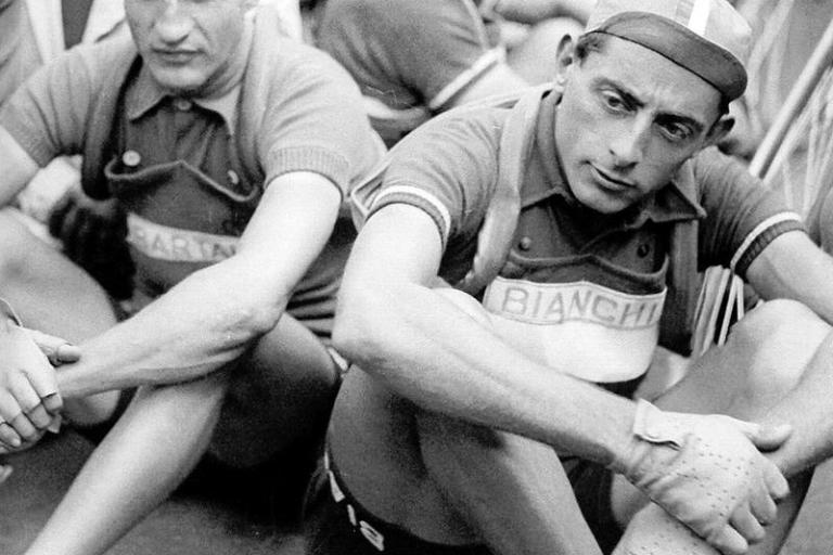 Gino Bartali (L) with great rival Fausto Coppi (CC licensed by Tsuru1111:Flickr)