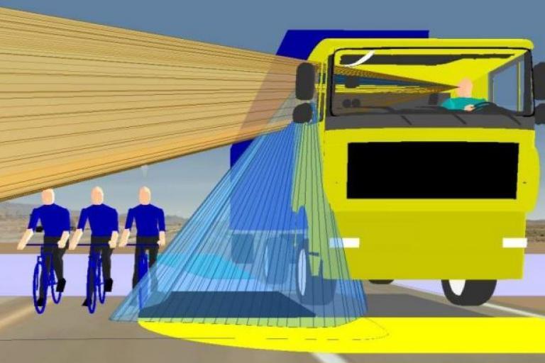 HGV blind spot based on current design - picture credit Loughborough Design School