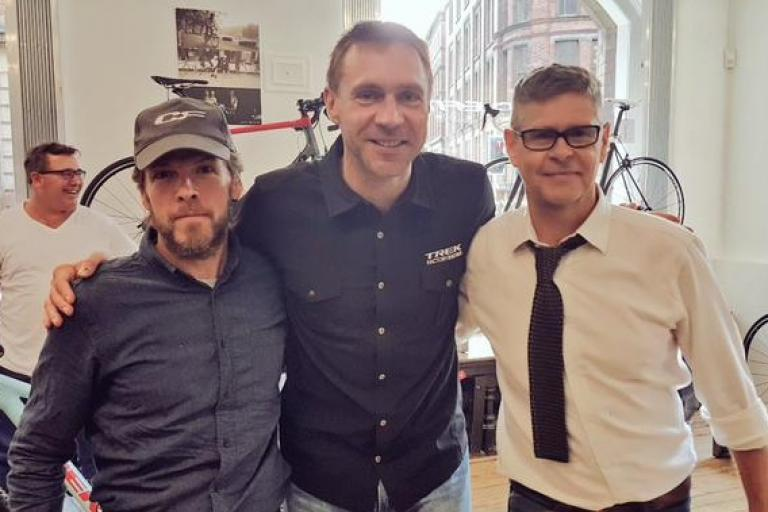 Jens Voigt with Julian Wall and Phil Cavell, founders of CycleFit (taken from Twitter)