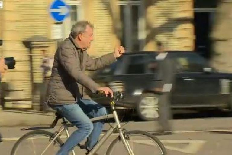 Jeremy Clarkson on bike BBC News video still