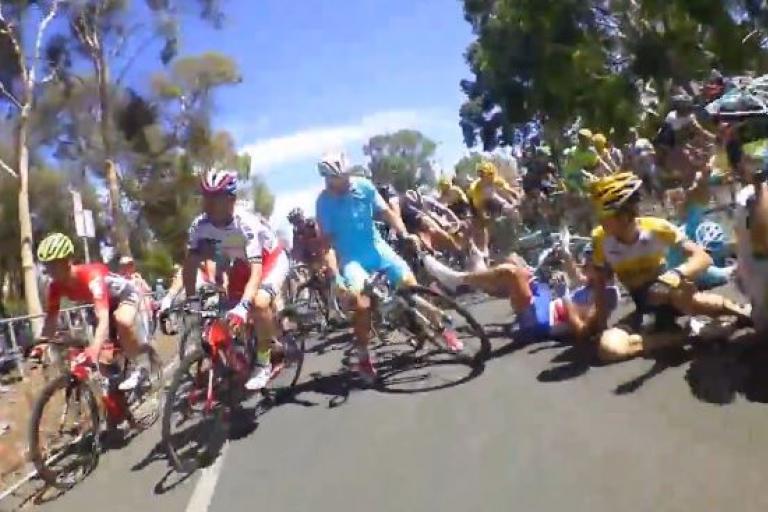 Jeremy Roy TDU 2015 Stage 6 crash footage YouTube still
