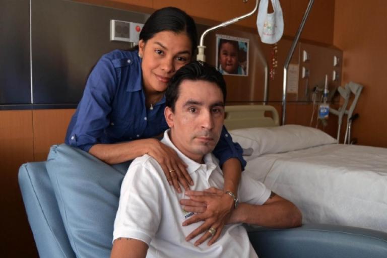 Juan Mauricio Soler and his wife, Patricia (picture courtesy Movistar)