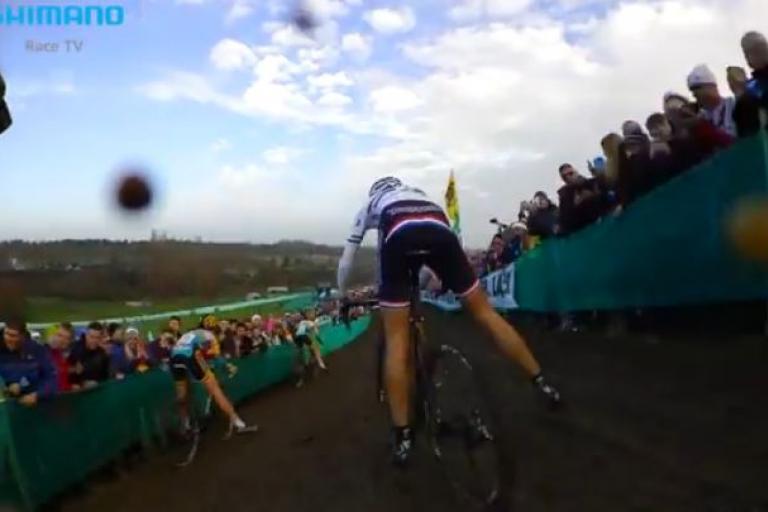Katie Compton Milton Keynes WC CX on-board camera (pic - Shimano Race TV YouTube still)