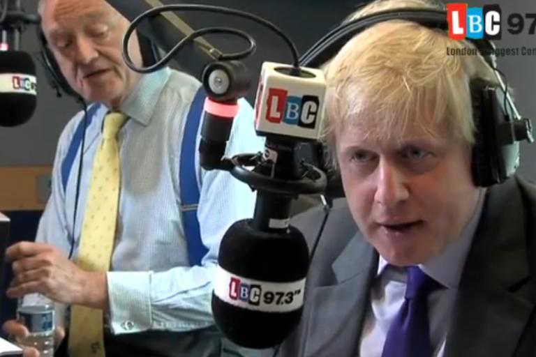 Ken Livingstone and Boris Johnson LBC debate YouTube still