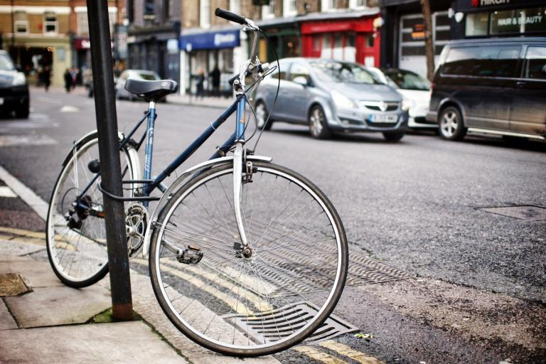 Locked bicycle (copyright Simon MacMichael)
