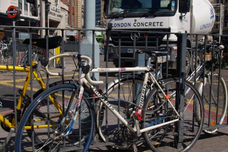London Concrete lorry and bikes (copyright Simon MacMichael)