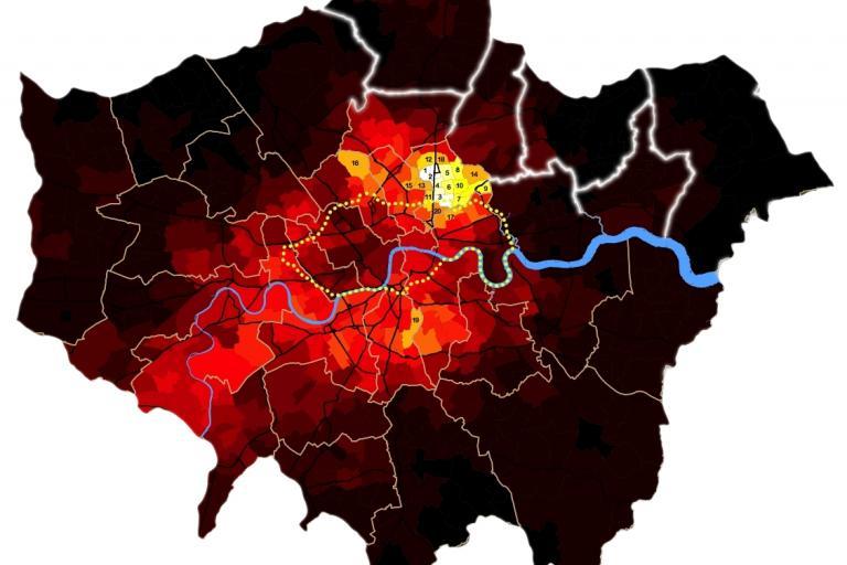 London Cycle Map (source Bolt Burdon Kemp)