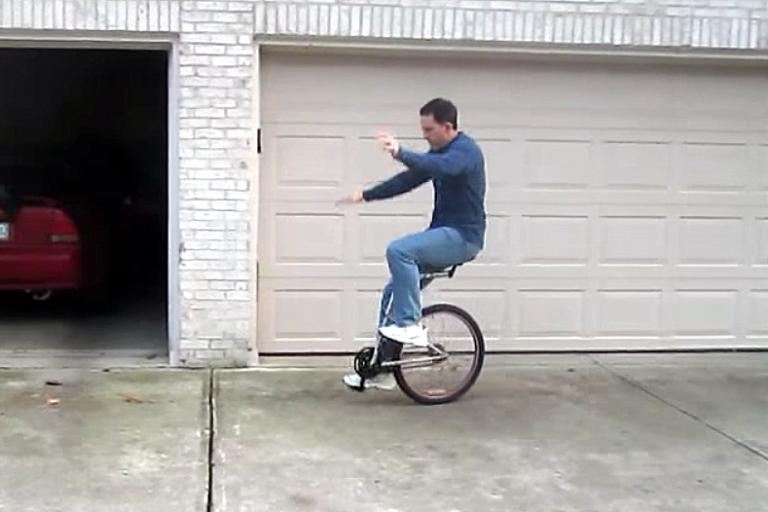 Lou riding the offset unicycle