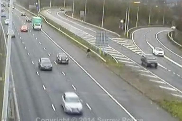 M25 cyclist (Surrey Police YouTube video still)